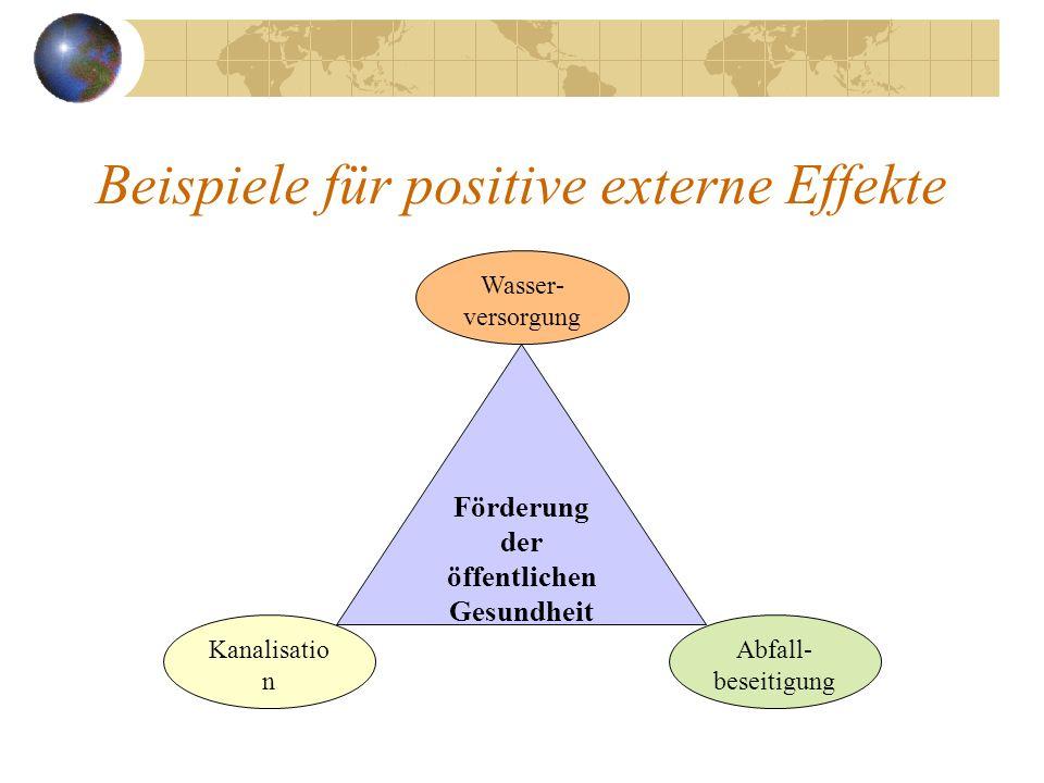 Beispiele für positive externe Effekte Förderung der öffentlichen Gesundheit Kanalisatio n Wasser- versorgung Abfall- beseitigung