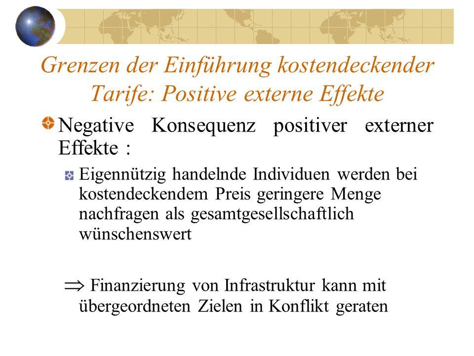Grenzen der Einführung kostendeckender Tarife: Positive externe Effekte Negative Konsequenz positiver externer Effekte : Eigennützig handelnde Individ