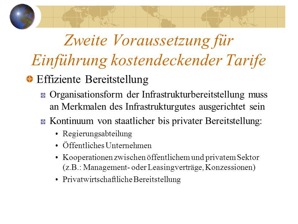Zweite Voraussetzung für Einführung kostendeckender Tarife Effiziente Bereitstellung Organisationsform der Infrastrukturbereitstellung muss an Merkmal
