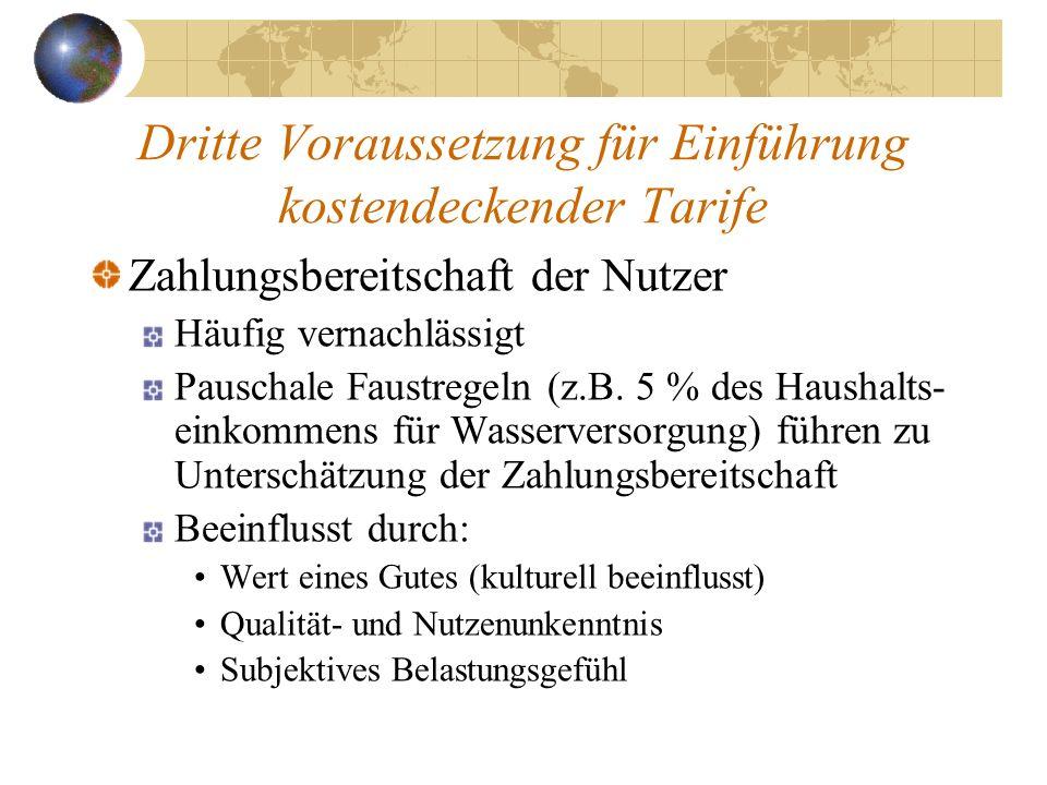 Dritte Voraussetzung für Einführung kostendeckender Tarife Zahlungsbereitschaft der Nutzer Häufig vernachlässigt Pauschale Faustregeln (z.B. 5 % des H