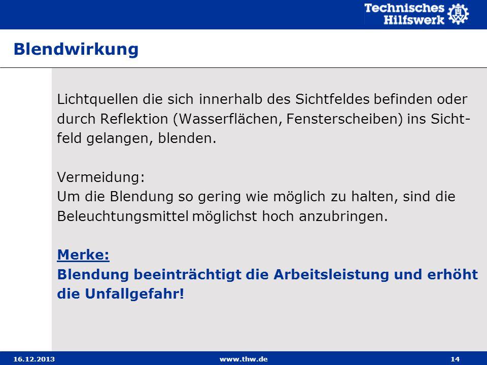 16.12.2013www.thw.de14 Blendwirkung Lichtquellen die sich innerhalb des Sichtfeldes befinden oder durch Reflektion (Wasserflächen, Fensterscheiben) in