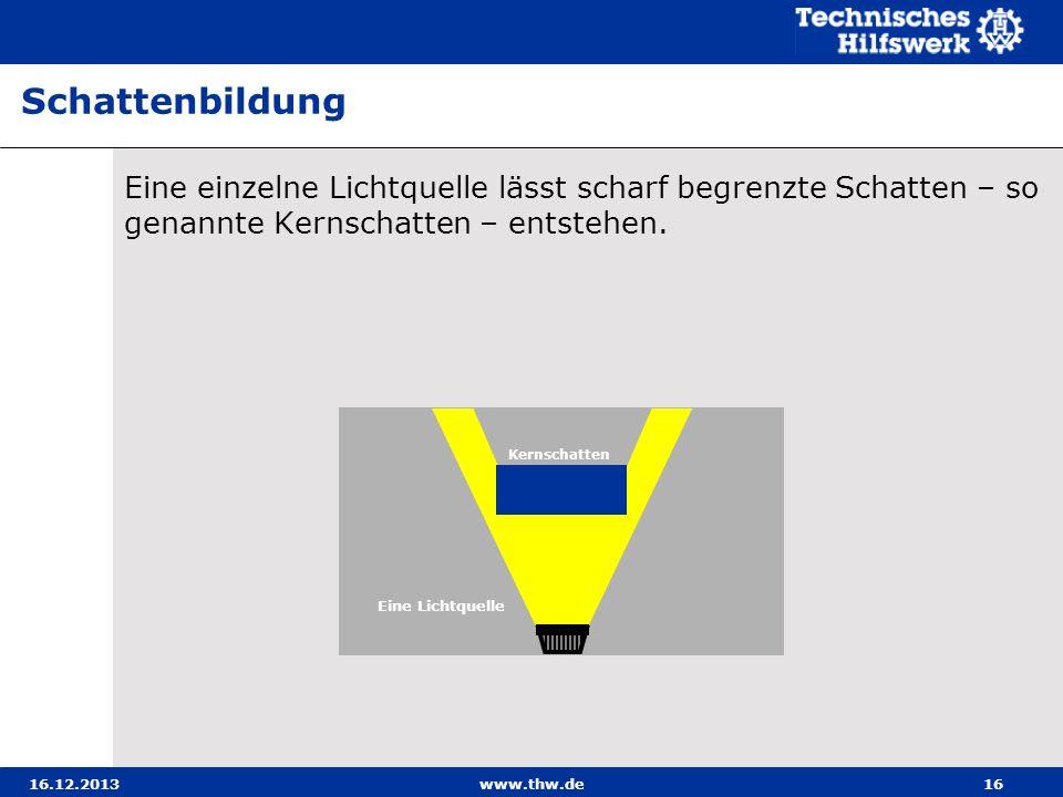 16.12.2013www.thw.de16 Eine einzelne Lichtquelle lässt scharf begrenzte Schatten – so genannte Kernschatten – entstehen. Schattenbildung Kernschatten
