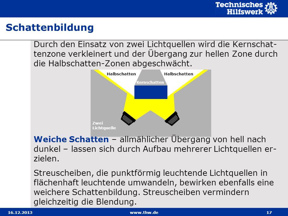 16.12.2013www.thw.de17 Durch den Einsatz von zwei Lichtquellen wird die Kernschat- tenzone verkleinert und der Übergang zur hellen Zone durch die Halb