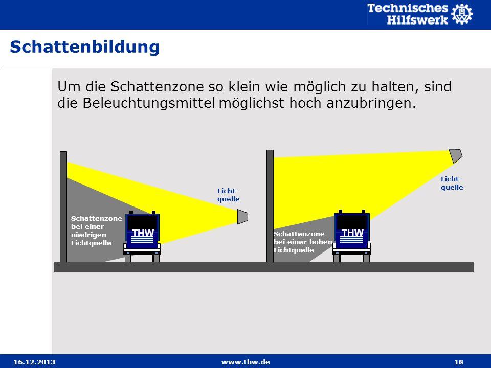 16.12.2013www.thw.de18 Um die Schattenzone so klein wie möglich zu halten, sind die Beleuchtungsmittel möglichst hoch anzubringen. Schattenbildung Lic