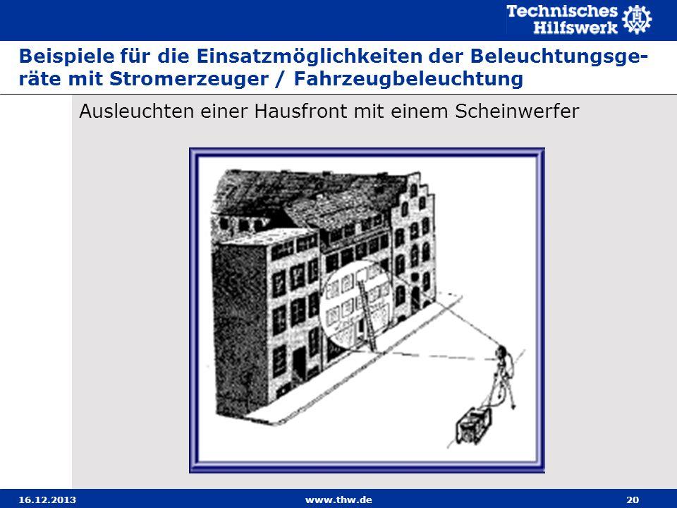 16.12.2013www.thw.de20 Beispiele für die Einsatzmöglichkeiten der Beleuchtungsge- räte mit Stromerzeuger / Fahrzeugbeleuchtung Ausleuchten einer Hausf