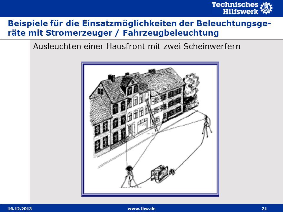 16.12.2013www.thw.de21 Beispiele für die Einsatzmöglichkeiten der Beleuchtungsge- räte mit Stromerzeuger / Fahrzeugbeleuchtung Ausleuchten einer Hausf