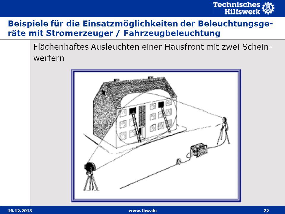 16.12.2013www.thw.de22 Beispiele für die Einsatzmöglichkeiten der Beleuchtungsge- räte mit Stromerzeuger / Fahrzeugbeleuchtung Flächenhaftes Ausleucht