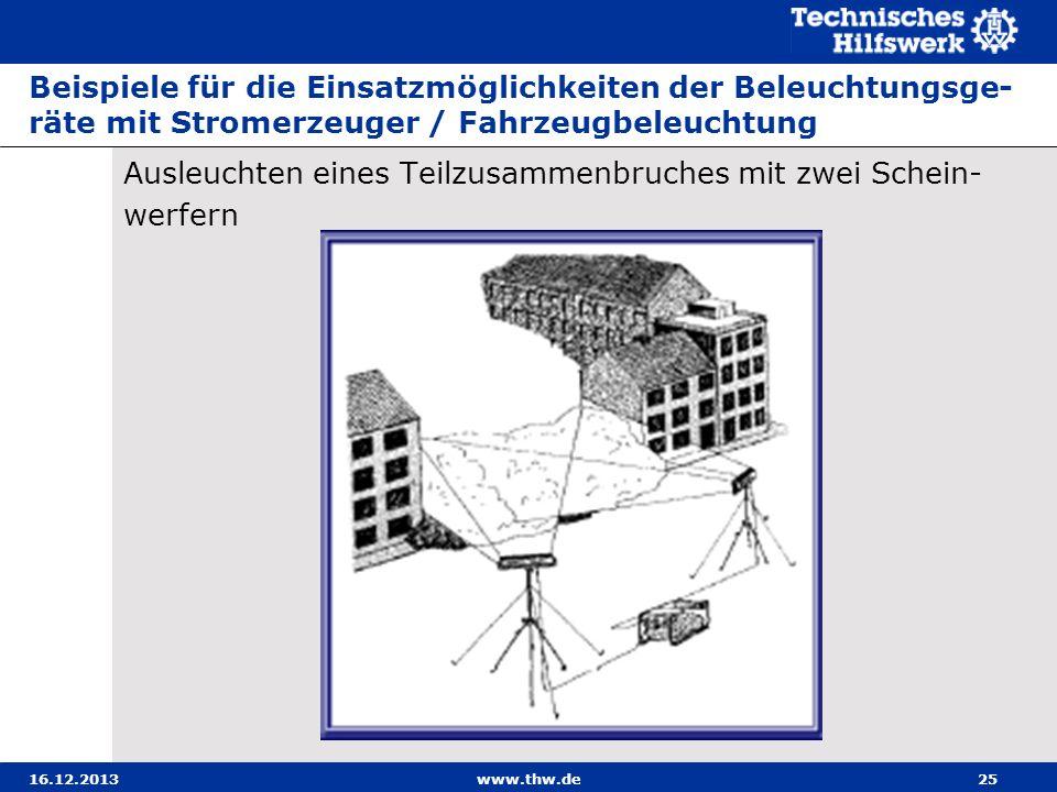 16.12.2013www.thw.de25 Beispiele für die Einsatzmöglichkeiten der Beleuchtungsge- räte mit Stromerzeuger / Fahrzeugbeleuchtung Ausleuchten eines Teilz