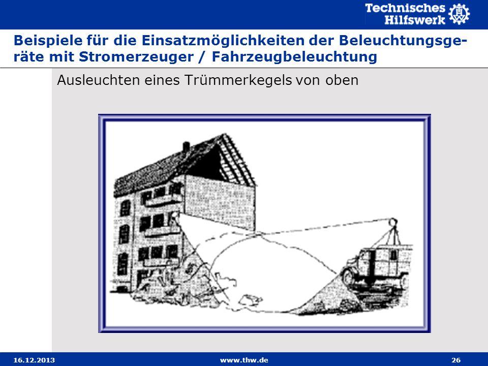 16.12.2013www.thw.de26 Beispiele für die Einsatzmöglichkeiten der Beleuchtungsge- räte mit Stromerzeuger / Fahrzeugbeleuchtung Ausleuchten eines Trümm