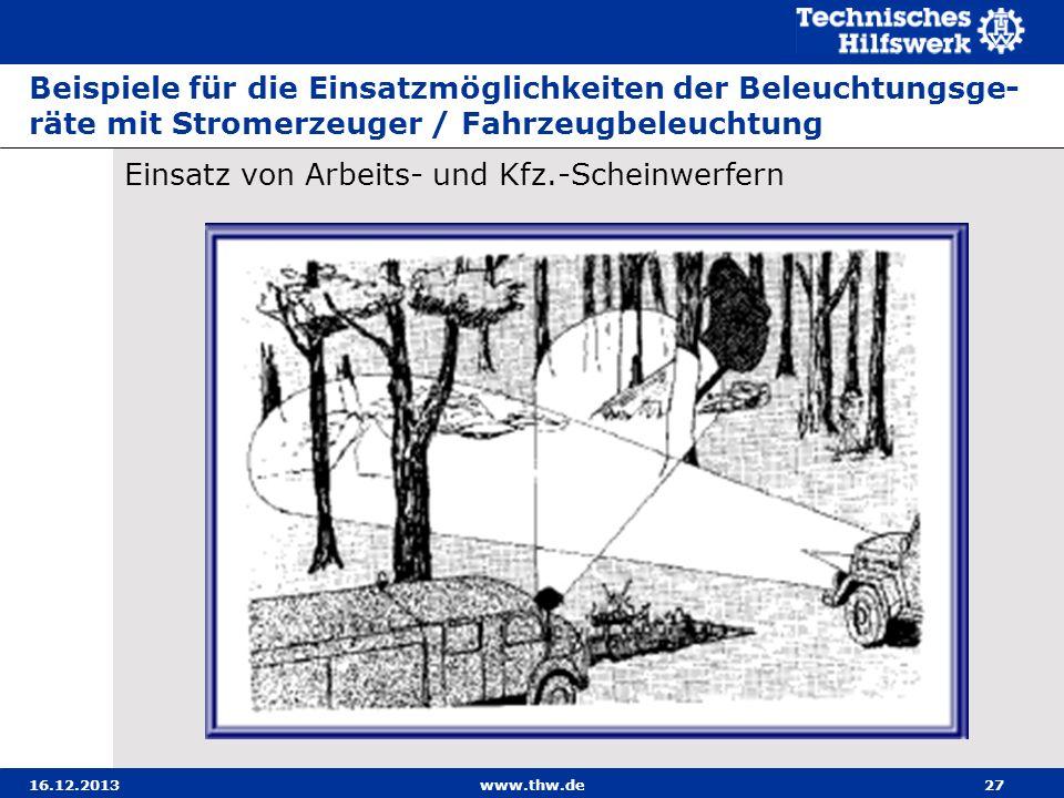 16.12.2013www.thw.de27 Beispiele für die Einsatzmöglichkeiten der Beleuchtungsge- räte mit Stromerzeuger / Fahrzeugbeleuchtung Einsatz von Arbeits- un