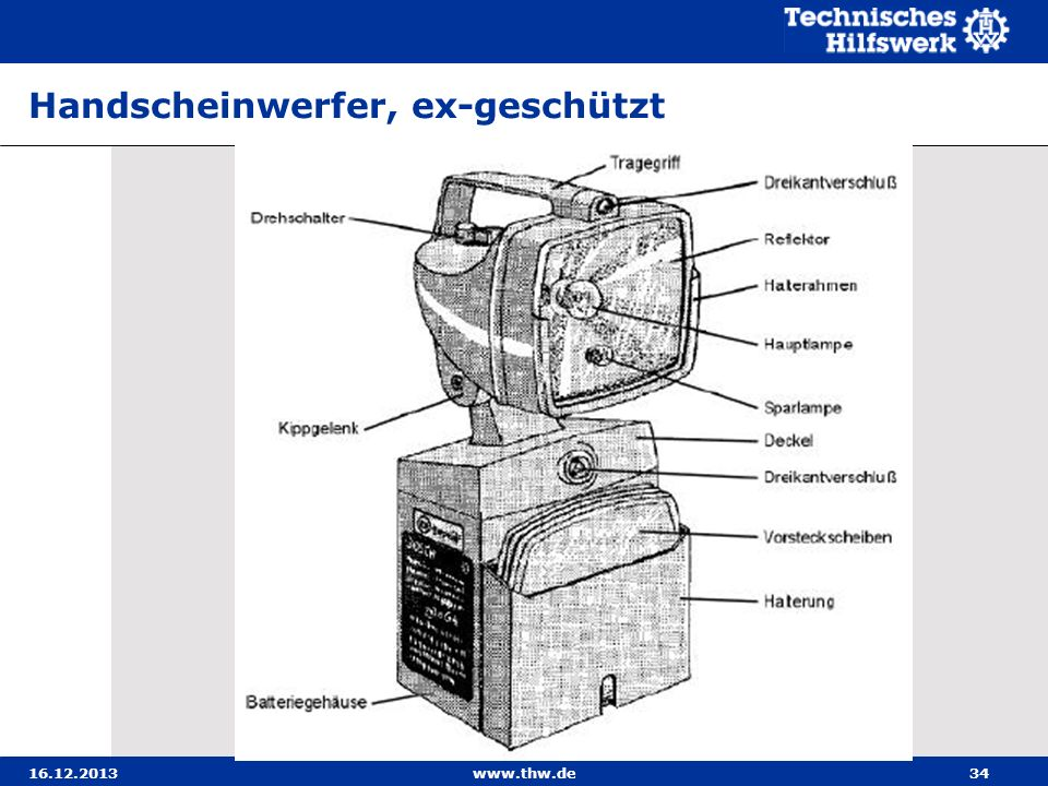 16.12.2013www.thw.de34 Handscheinwerfer, ex-geschützt