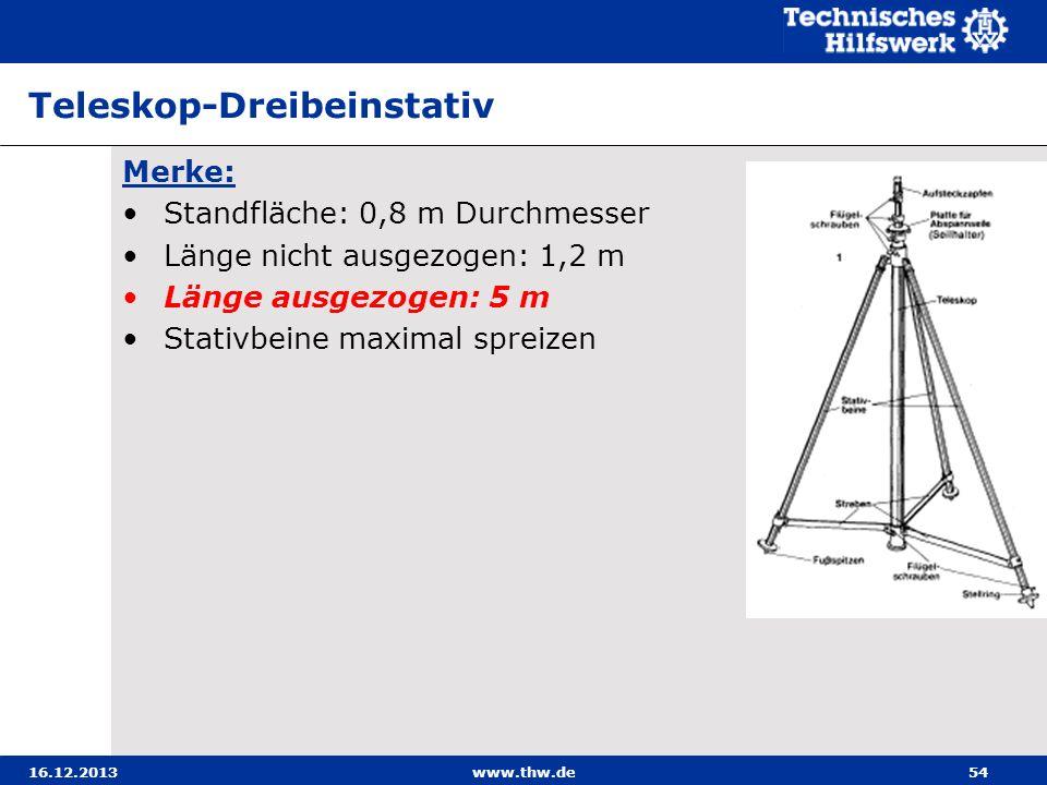 16.12.2013www.thw.de54 Teleskop-Dreibeinstativ Merke: Standfläche: 0,8 m Durchmesser Länge nicht ausgezogen: 1,2 m Länge ausgezogen: 5 m Stativbeine m