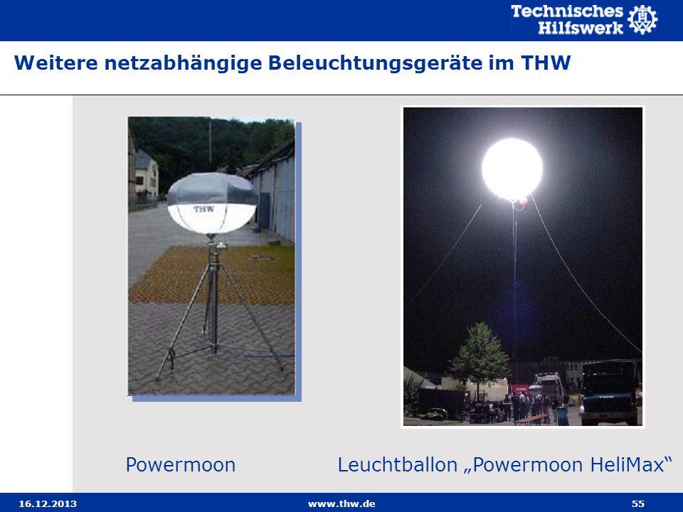 16.12.2013www.thw.de55 Weitere netzabhängige Beleuchtungsgeräte im THW Powermoon Leuchtballon Powermoon HeliMax