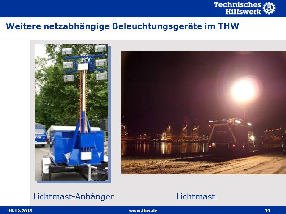 16.12.2013www.thw.de56 Weitere netzabhängige Beleuchtungsgeräte im THW Lichtmast-AnhängerLichtmast