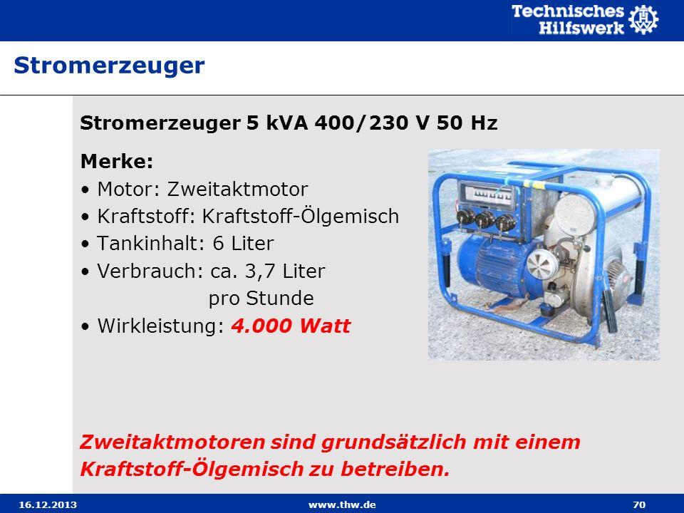 16.12.2013www.thw.de70 Stromerzeuger 5 kVA 400/230 V 50 Hz Merke: Motor: Zweitaktmotor Kraftstoff: Kraftstoff-Ölgemisch Tankinhalt: 6 Liter Verbrauch: