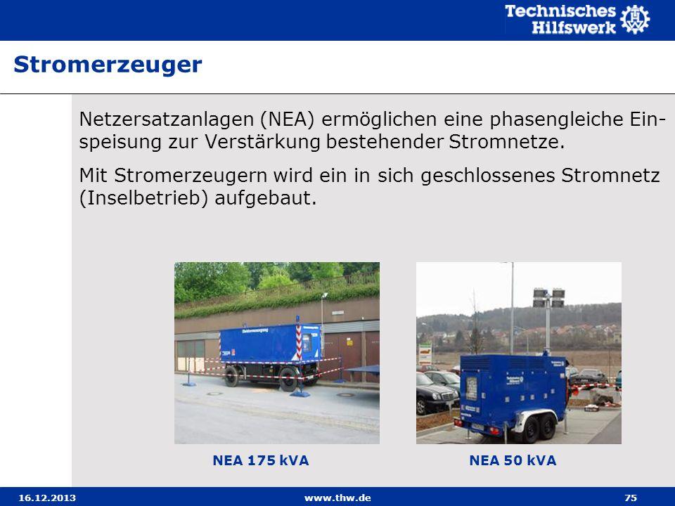 16.12.2013www.thw.de75 Netzersatzanlagen (NEA) ermöglichen eine phasengleiche Ein- speisung zur Verstärkung bestehender Stromnetze. Mit Stromerzeugern