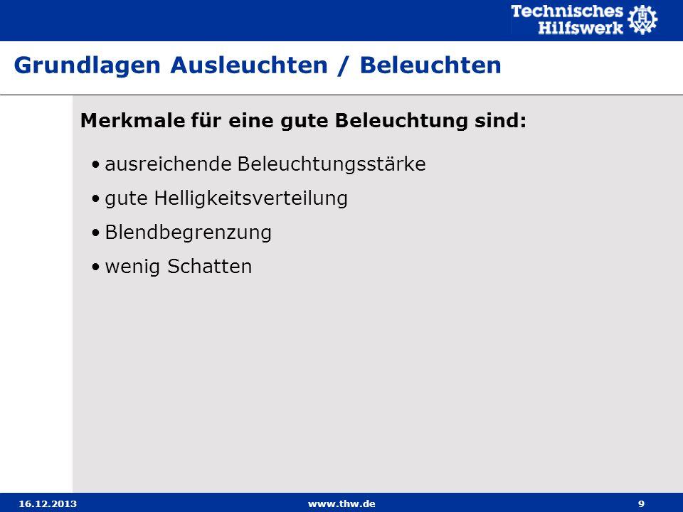 16.12.2013www.thw.de20 Beispiele für die Einsatzmöglichkeiten der Beleuchtungsge- räte mit Stromerzeuger / Fahrzeugbeleuchtung Ausleuchten einer Hausfront mit einem Scheinwerfer