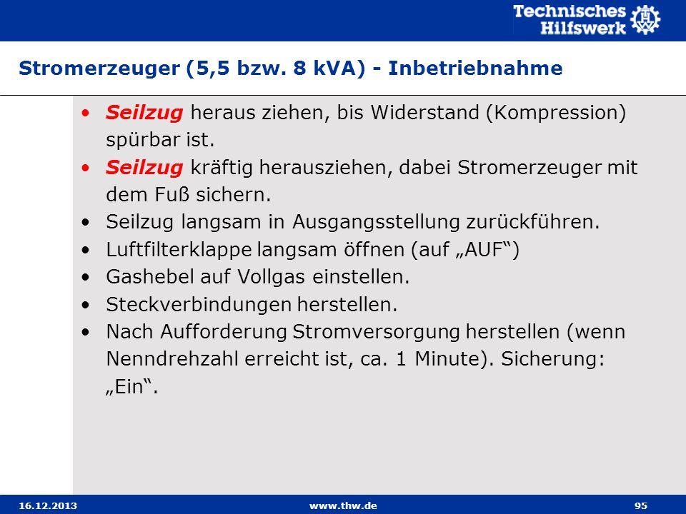 16.12.2013www.thw.de95 Stromerzeuger (5,5 bzw. 8 kVA) - Inbetriebnahme Seilzug heraus ziehen, bis Widerstand (Kompression) spürbar ist. Seilzug kräfti
