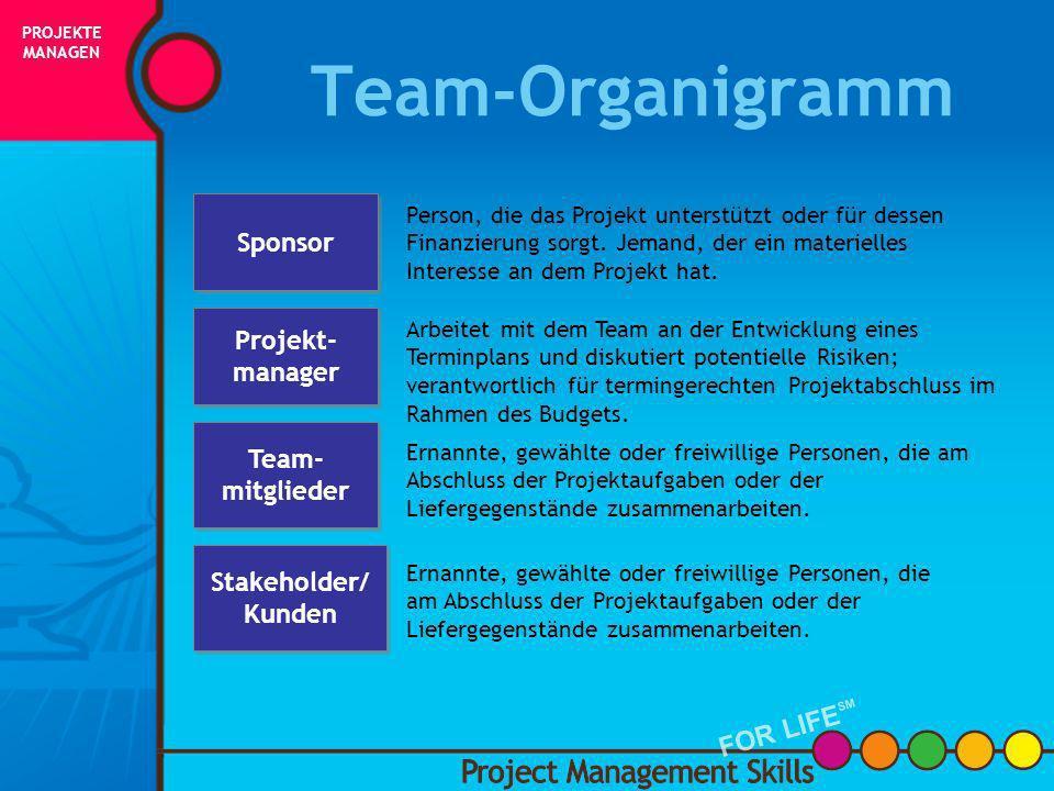 Wer sind die Teammitglieder? WICHTIGE MERKMALE EINES PROJEKTTEAMS SIND: Ernannte, gewählte oder freiwillige Personen, die am Projekt zusammenarbeiten