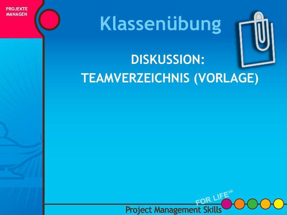Team-Organigramm Sponsor Projekt- manager Stakeholder/ Kunden Team- mitglieder Arbeitet mit dem Team an der Entwicklung eines Terminplans und diskutie