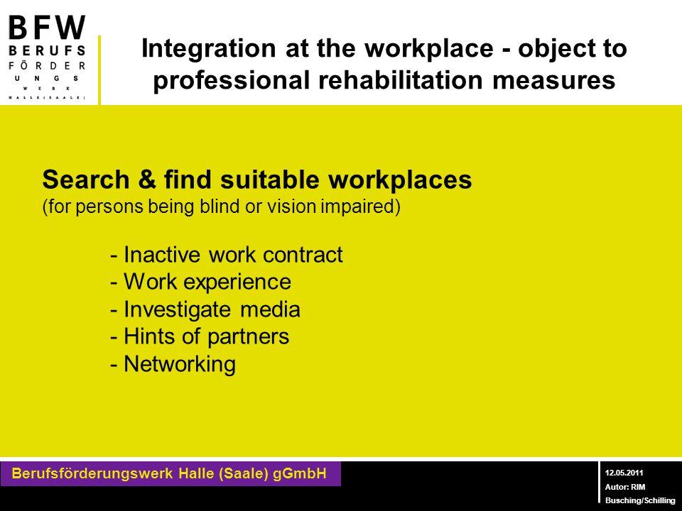 Berufsförderungswerk Halle (Saale) gGmbH Berufliches Bildungszentrum für Blinde und Sehbehinderte 12.05.2011 Autor: RIM Busching/Schilling Integration