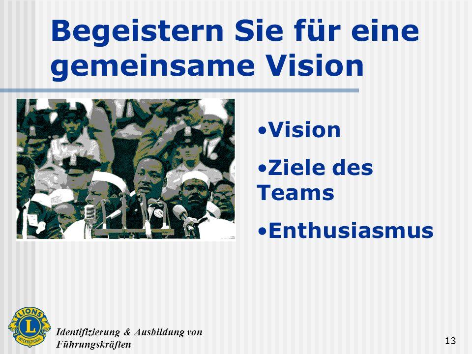 Identifizierung & Ausbildung von Führungskräften 13 Begeistern Sie für eine gemeinsame Vision Vision Ziele des Teams Enthusiasmus
