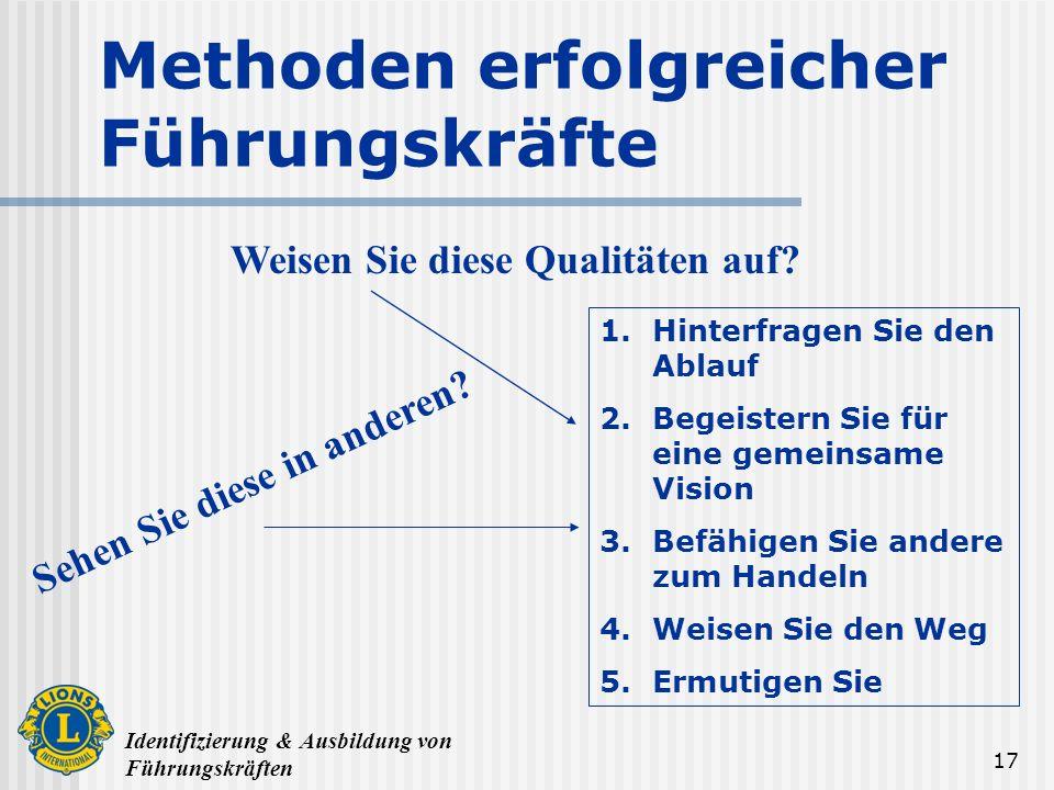 Identifizierung & Ausbildung von Führungskräften 17 Methoden erfolgreicher Führungskräfte 1.Hinterfragen Sie den Ablauf 2.Begeistern Sie für eine geme