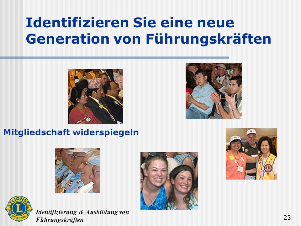 Identifizierung & Ausbildung von Führungskräften 23 Identifizieren Sie eine neue Generation von Führungskräften Mitgliedschaft widerspiegeln