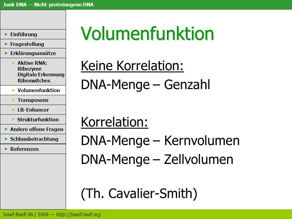 Junk DNA Nicht-proteinogene DNA Josef Riedl 06 / 2004 http://josef.riedl.org Volumenfunktion Keine Korrelation: DNA-Menge – Genzahl Korrelation: DNA-M