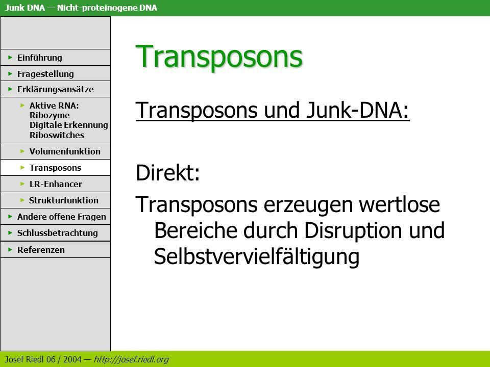 Junk DNA Nicht-proteinogene DNA Josef Riedl 06 / 2004 http://josef.riedl.org Transposons Transposons und Junk-DNA: Direkt: Transposons erzeugen wertlo