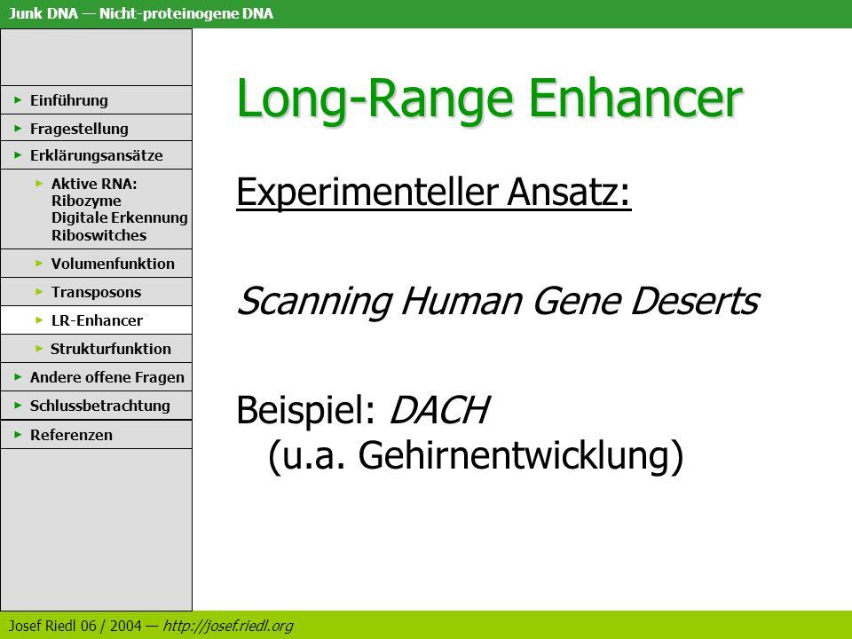 Junk DNA Nicht-proteinogene DNA Josef Riedl 06 / 2004 http://josef.riedl.org Long-Range Enhancer Experimenteller Ansatz: Scanning Human Gene Deserts B