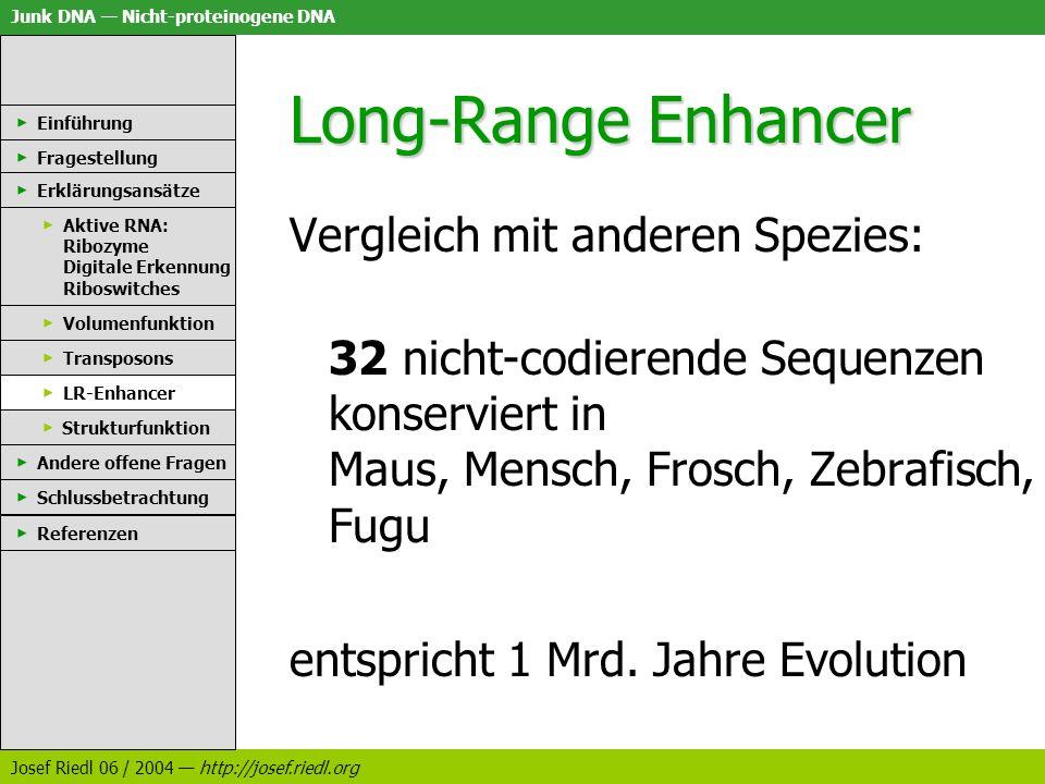 Junk DNA Nicht-proteinogene DNA Josef Riedl 06 / 2004 http://josef.riedl.org Long-Range Enhancer Vergleich mit anderen Spezies: 32 nicht-codierende Se