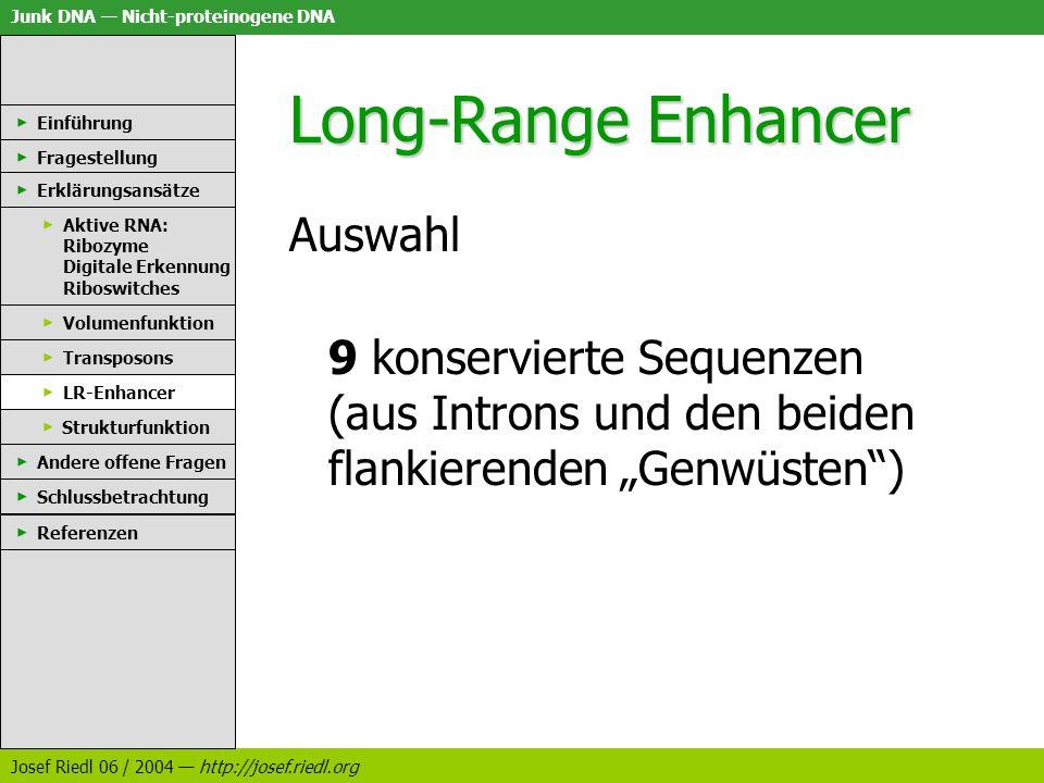 Junk DNA Nicht-proteinogene DNA Josef Riedl 06 / 2004 http://josef.riedl.org Long-Range Enhancer Auswahl 9 konservierte Sequenzen (aus Introns und den