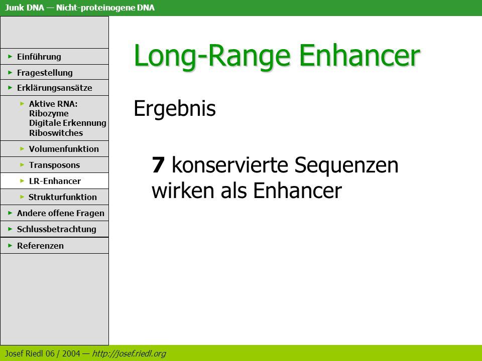 Junk DNA Nicht-proteinogene DNA Josef Riedl 06 / 2004 http://josef.riedl.org Long-Range Enhancer Ergebnis 7 konservierte Sequenzen wirken als Enhancer