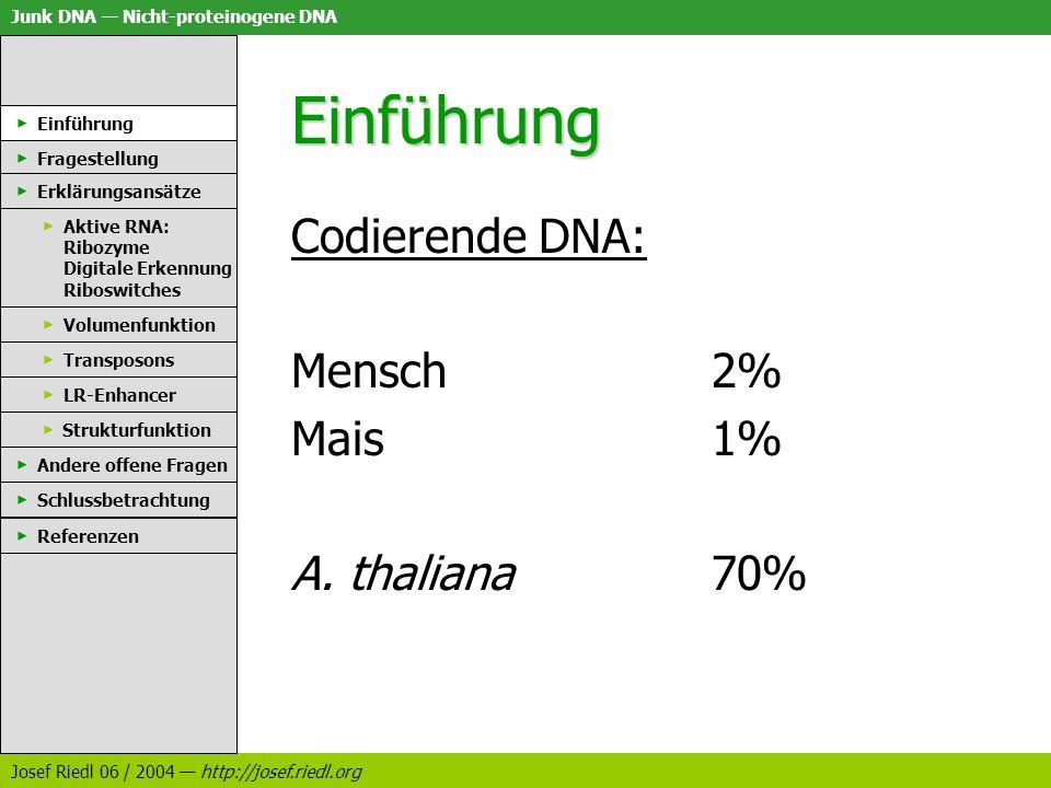 Junk DNA Nicht-proteinogene DNA Josef Riedl 06 / 2004 http://josef.riedl.org Einführung Rest: Junk DNA Unnötige DNA DNA ohne erkennbare Bedeutung Nicht-proteincodierende DNA ENCODE; RNome; Transkriptionseinheit Einführung Fragestellung Erklärungsansätze Aktive RNA: Ribozyme Digitale Erkennung Riboswitches Volumenfunktion Transposons LR-Enhancer Strukturfunktion Andere offene Fragen Schlussbetrachtung Referenzen