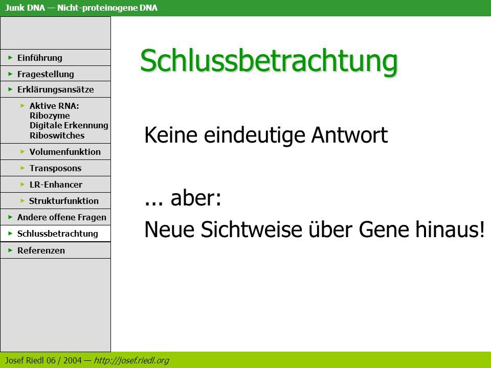 Junk DNA Nicht-proteinogene DNA Josef Riedl 06 / 2004 http://josef.riedl.org Schlussbetrachtung Einführung Fragestellung Erklärungsansätze Aktive RNA: