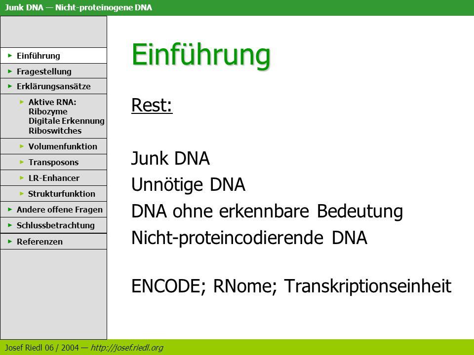 Junk DNA Nicht-proteinogene DNA Josef Riedl 06 / 2004 http://josef.riedl.org Einführung Rest: Junk DNA Unnötige DNA DNA ohne erkennbare Bedeutung Nich