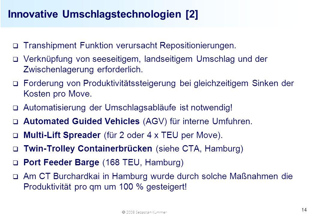 2008 Sebastian Kummer 14 Innovative Umschlagstechnologien [2] q Transhipment Funktion verursacht Repositionierungen. q Verknüpfung von seeseitigem, la