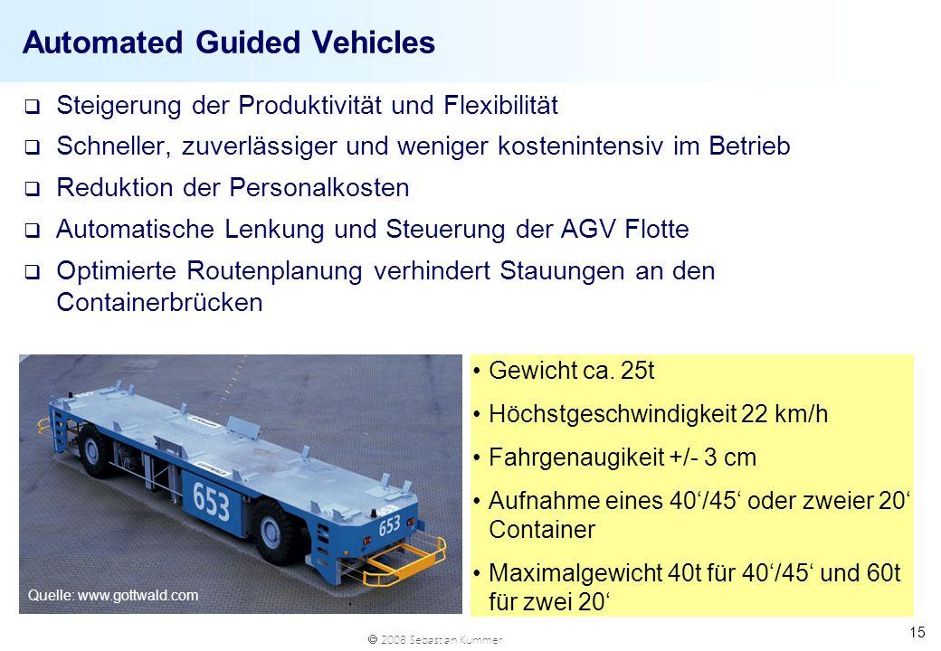 2008 Sebastian Kummer 15 Automated Guided Vehicles q Steigerung der Produktivität und Flexibilität q Schneller, zuverlässiger und weniger kostenintens