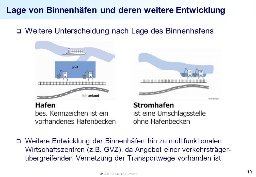 2008 Sebastian Kummer 19 Lage von Binnenhäfen und deren weitere Entwicklung q Weitere Unterscheidung nach Lage des Binnenhafens q Weitere Entwicklung