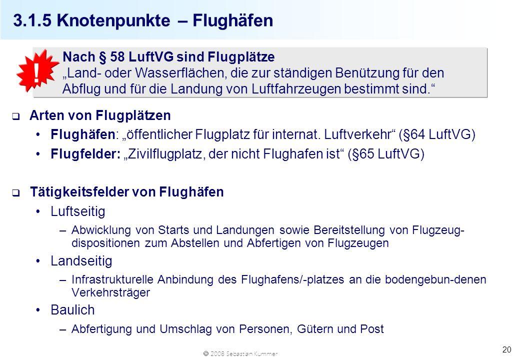 2008 Sebastian Kummer 20 3.1.5 Knotenpunkte – Flughäfen q Arten von Flugplätzen Flughäfen: öffentlicher Flugplatz für internat. Luftverkehr (§64 LuftV
