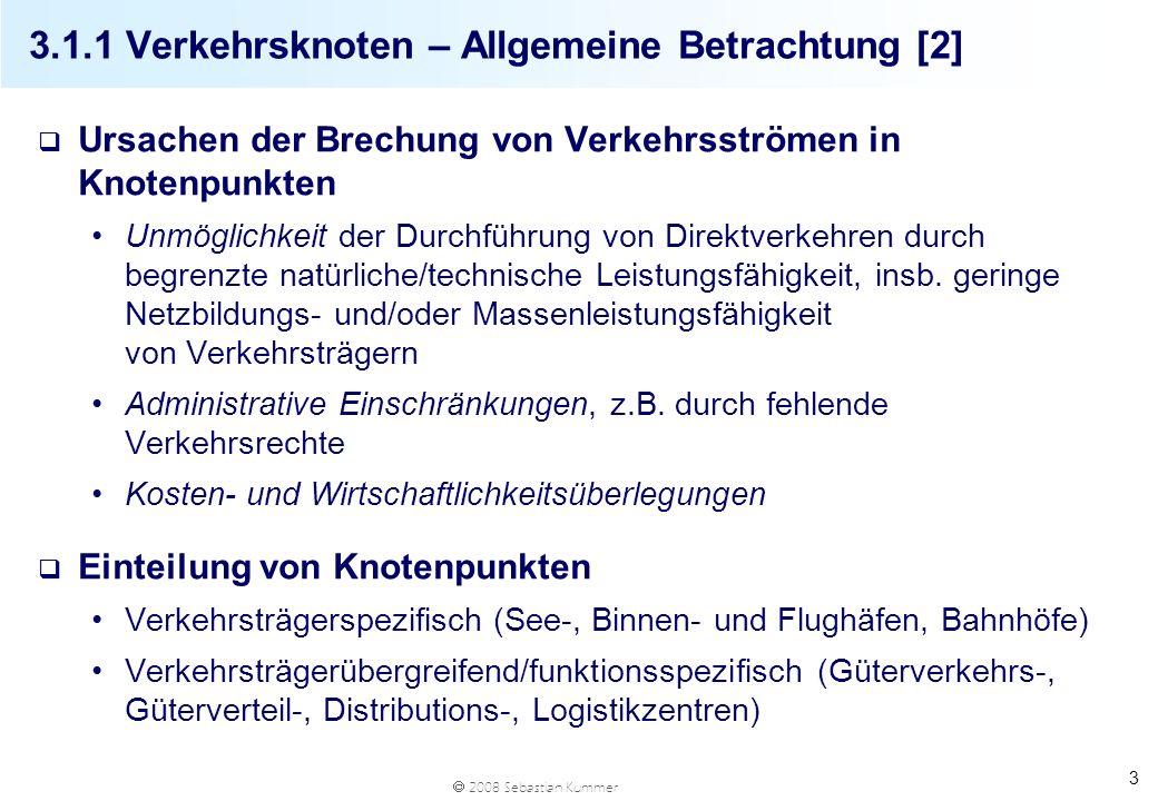 2008 Sebastian Kummer 24 3.2 Überblick Verkehrskanten Binnenwasserstraßen Dezentrale Verkehrssteuerung mit zunehmender Koordination (Kapazitätserhöhung) Finanziert durch Bund, keine Gebühren durch NutzerInnen Seeschifffahrtswege Dezentrale Verkehrssteuerung Keine Kantenfinanzierung notwendig (Ausnahme: Kanäle) Luftverkehrsstraßen Zentrale Verkehrssteuerung (Flugsicherung durch Austro Control) Keine Kantenfinanzierung notwendig Kraftverkehrsstraßen Verkehrssteuerung erfolgt dezentral, nur wenig zentrale Steuerung (Telematik) Finanzierung durch Bund, Länder, Gemeinden, NutzerInnen (hochran- giges Straßennetz) Schienenwege Zentrale Verkehrssteuerung (Stellwerke) Finanzierung v.a.