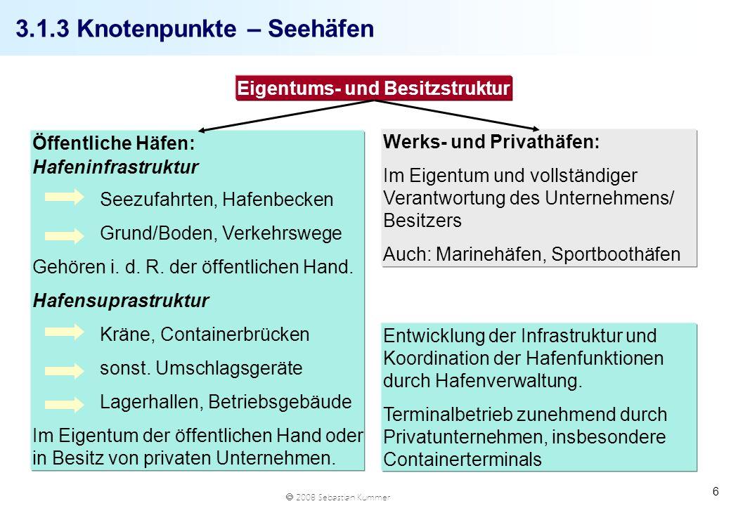 2008 Sebastian Kummer 17 Port Feeder Barge 64 x 21 x 4,80m Tiefgang: 2 – 3,10m Antrieb: diesel-elektrisch Geschwindigkeit: 7 Knoten 168 TEU, davon 50% in Zellenführung Kran + Spreader Quelle: www.portfeederbarge.de q Steigerung der Leistungsfähigkeit der internen Container-Logistik des Hamburger Hafens q Containerumfuhr: Containertransporte zwischen Umschlagbetrieben der verschiedenen Terminals; Alternative zu Containertransporten mit LKW q Feeder Operations: Sammeln und Verteilen von Containern, Konzentration der Feederschiffe auf wenige Terminals q Entlastung der Terminals vom Binnenschiffumschlag