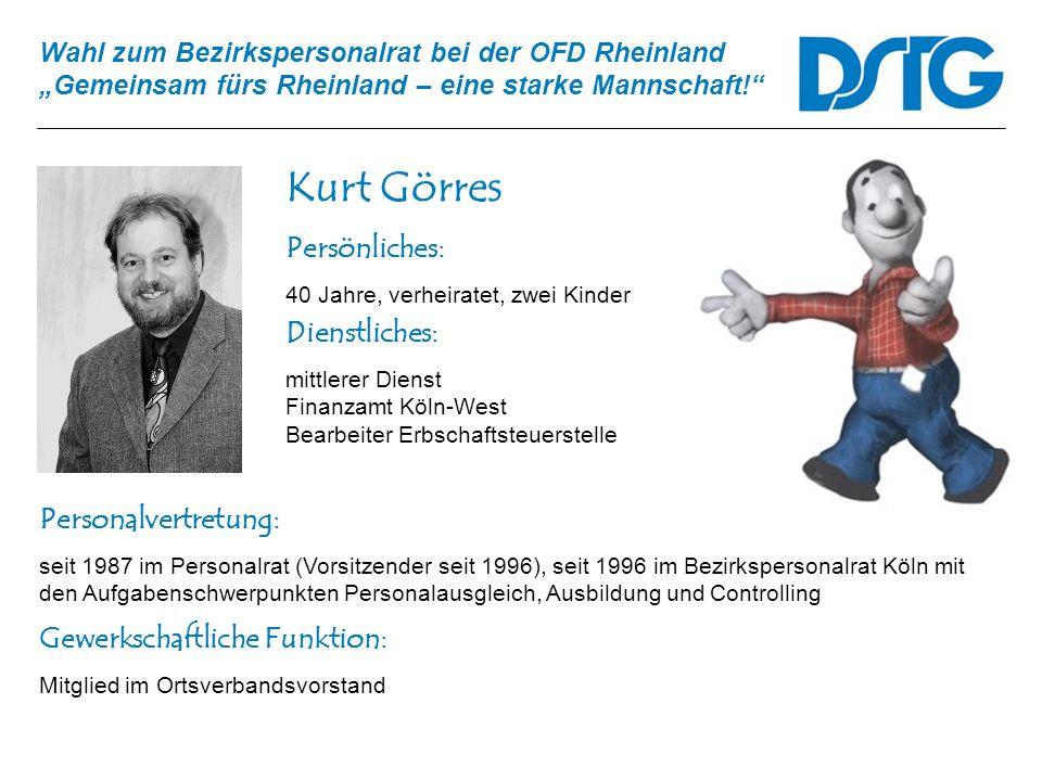 Wahl zum Bezirkspersonalrat bei der OFD Rheinland Gemeinsam fürs Rheinland – eine starke Mannschaft! Kurt Görres Personalvertretung: seit 1987 im Pers