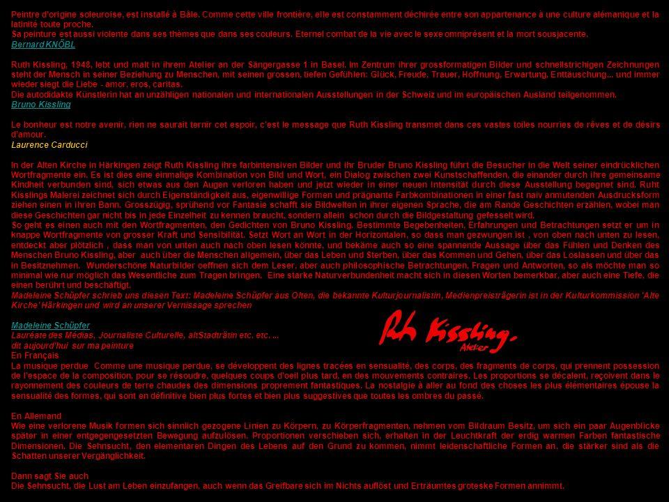 501 SINNLICHES SINNEN Dessins sensuels et poèmes érotiques 24 dessins avec leurs textes Auteur: Ruth Kissling et Madeleine Schüpfer Publications: Bernard Knöbl Edition Latour – Martigny 1990 / 1991 in Basel Lithographien ab Originalzeichnung in Poggibonsi / Florenz Fotos sämtlicher Zeichnungen vorhanden gemacht durch Michele Paglialunga Schriftliches Detail siehe >>> Meine Bilder ab No 1Meine Bilder ab No 1 Text aus Sinnliches Sinnen von Madeleine Schüpfer Olten – Medienpreisträgerin – Kulturjournalistin – altStadträtin usw., usw., usw.