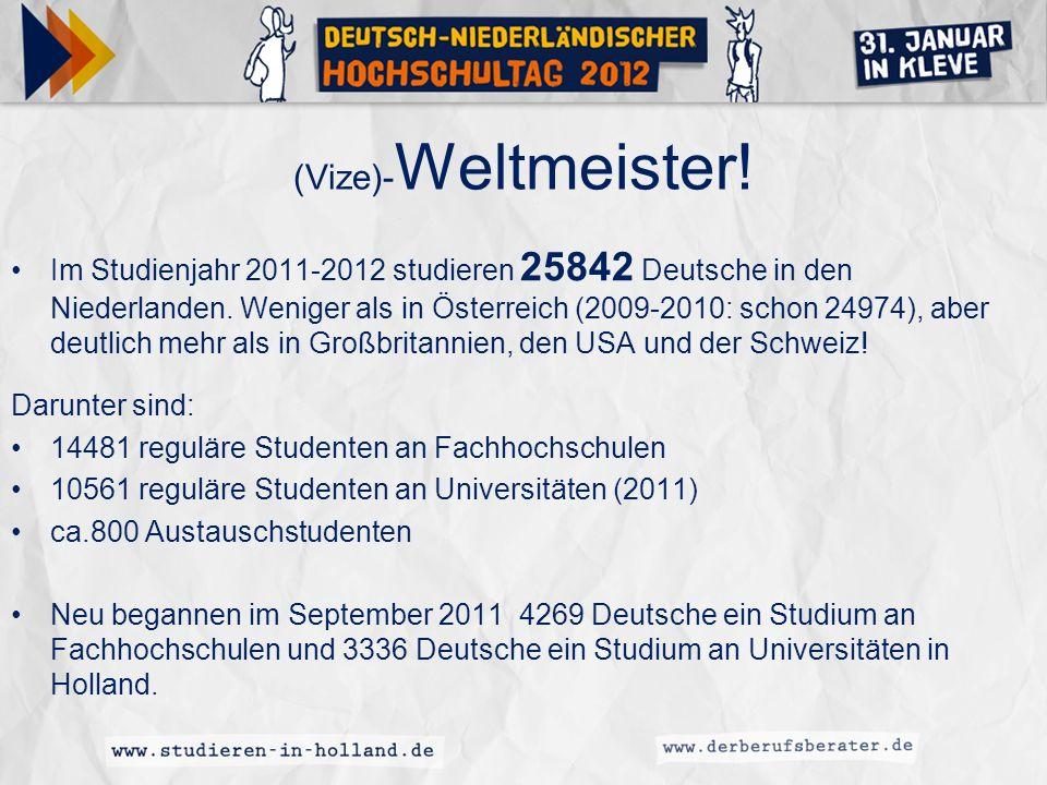 Beispiel: Hanzehogeschool Groningen Deutsche Studierende 2011-2012 insgesamt:1289 Darunter: International Business & Management Studies- (englisch oder deutsch): 652 Logopädie: 83 Krankenpflege: 58 Physiotherapie: 58 Kommunikation: 39 International Business & Languages: 27 Design: 24