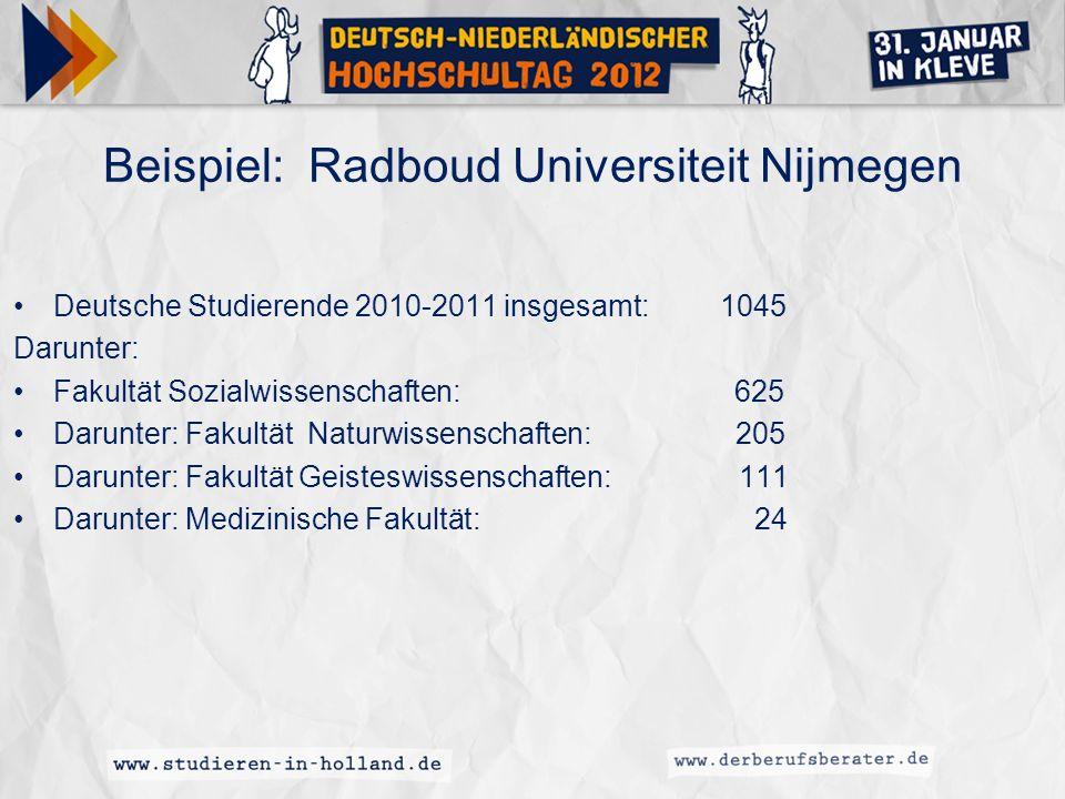 Beispiel: Radboud Universiteit Nijmegen Deutsche Studierende 2010-2011 insgesamt: 1045 Darunter: Fakultät Sozialwissenschaften: 625 Darunter: Fakultät