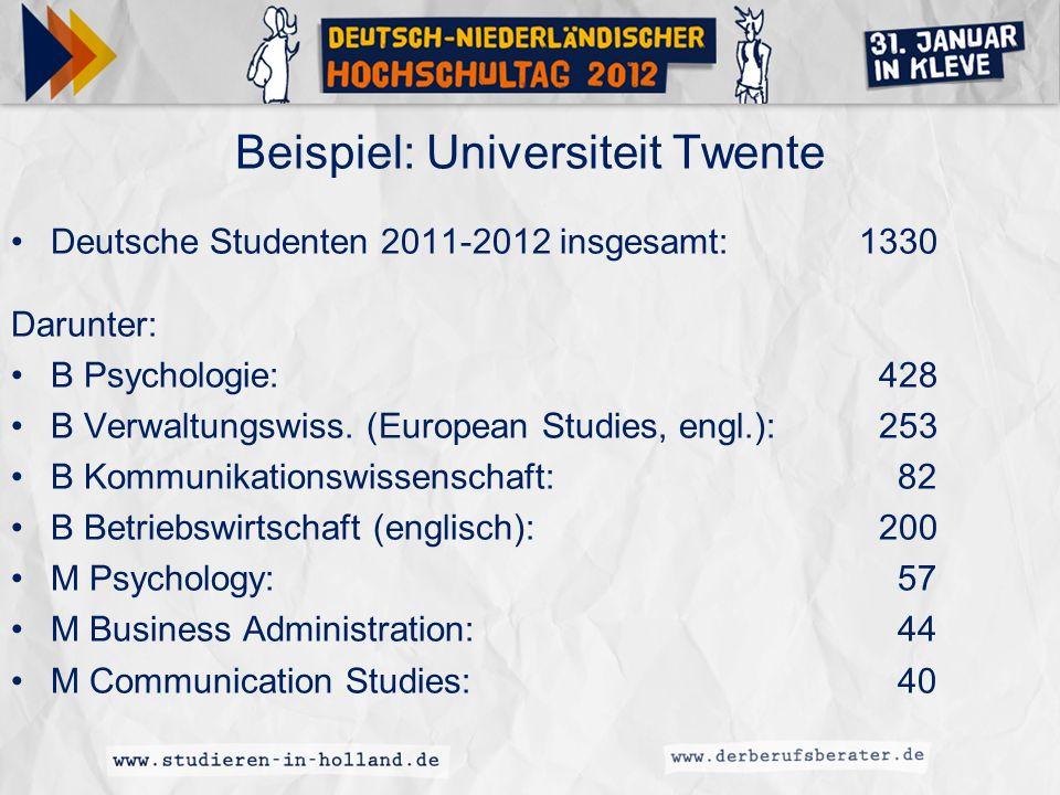 Beispiel: Universiteit Twente Deutsche Studenten 2011-2012 insgesamt:1330 Darunter: B Psychologie: 428 B Verwaltungswiss. (European Studies, engl.): 2