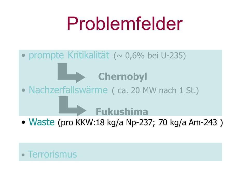 Problemfelder prompte Kritikalität (~ 0,6% bei U-235) Nachzerfallswärme ( ca. 20 MW nach 1 St.) Waste (pro KKW:18 kg/a Np-237; 70 kg/a Am-243 ) Terror