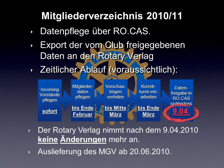 Datenpflege über RO.CAS. Export der vom Club freigegebenen Daten an den Rotary Verlag Zeitlicher Ablauf (voraussichtlich): Datenpflege über RO.CAS. Ex